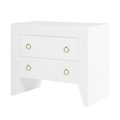 Lacquer 2 Drawer End Table