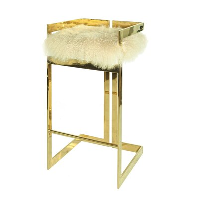 30 Bar Stool Base Color: Nickel, Upholstery: Mongolian Fur-Natural Off-White