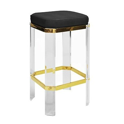 27 Acrylic Bar Stool Finish: Brass, Upholstery: Navy Shagreen
