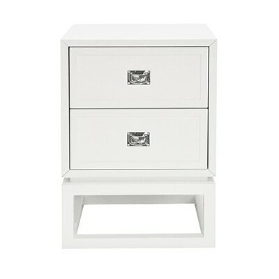2 Drawer End Table Color: White Lacquer