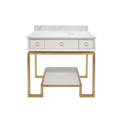 Owen 37 Single Bathroom Vanity Set Base Finish: Gold, Top Finish: White