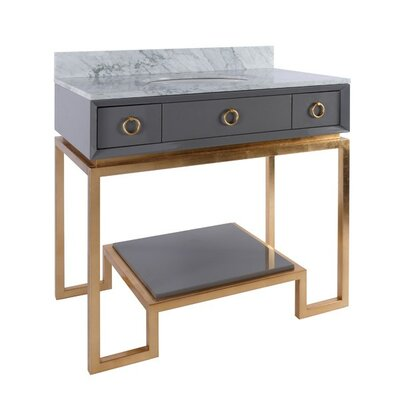Owen 37 Single Bathroom Vanity Set Base Finish: Gold, Top Finish: Gray