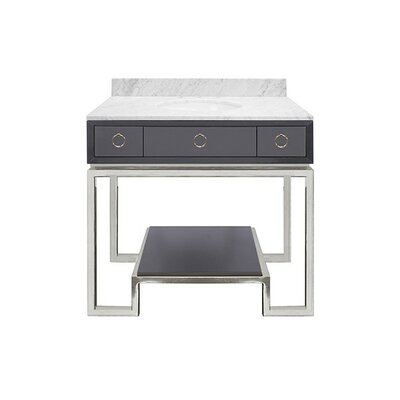 Owen 37 Single Bathroom Vanity Set Base Finish: Nickel, Top Finish: Gray