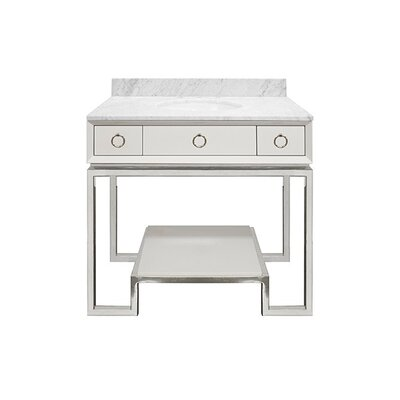 Owen 37 Single Bathroom Vanity Set Base Finish: Nickel, Top Finish: White