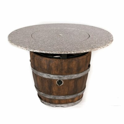 Wine Barrel Dining Table with Fire Pit