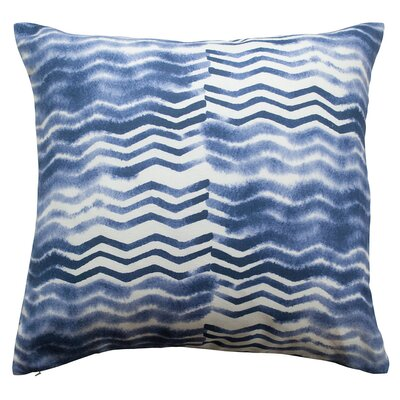 Soft Chevron Linen/Cotton Throw Pillow Color: Indigo Blue