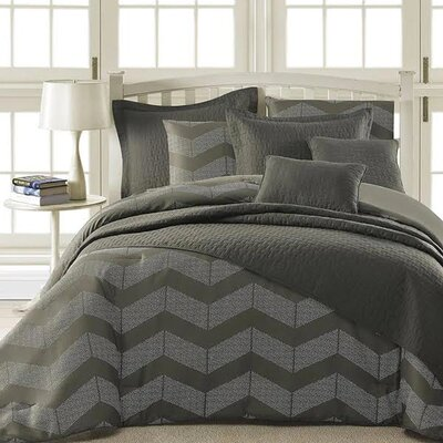 Laoise 5 Piece Comforter Set Size: Queen, Color: Dark Gray/Light Gray