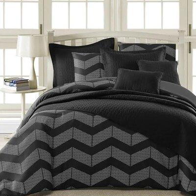 Laoise 5 Piece Comforter Set Size: Full, Color: Black/Gray