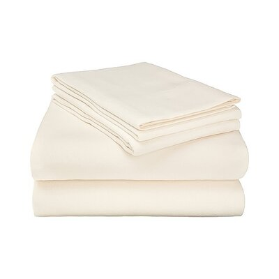 Ponte 100% Cotton Sheet Set Size: Cal King, Color: Ivory