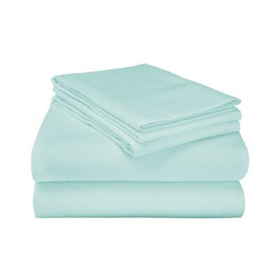 Ponte 100% Cotton Sheet Set Size: King, Color: Light Blue