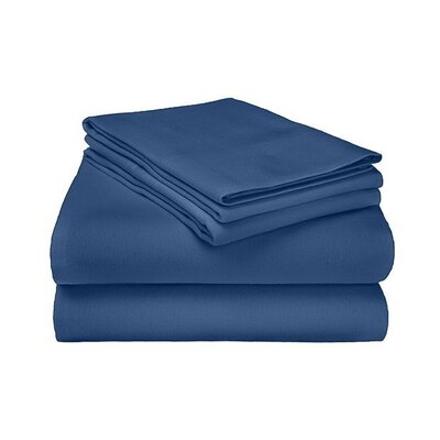 Ponte 100% Cotton Sheet Set Size: Full, Color: Navy