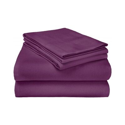 Ponte 100% Cotton Sheet Set Size: Twin, Color: Purple
