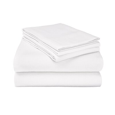 Ponte 100% Cotton Sheet Set Size: King, Color: White