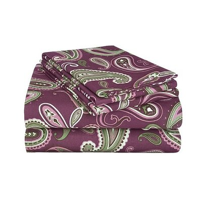Gunnora 100% Cotton Sheet Set Size: Full, Color: Purple