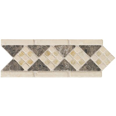 Artistic Accent Statements 10 x 3-1/2 Diamond Mosaic Decorative Border in Emperador/Onyx