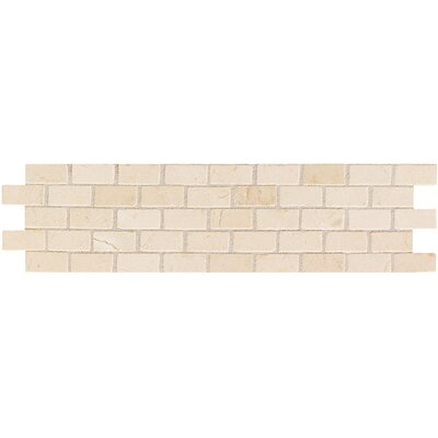 Artistic Accent Statements  Brick-Joint Mosaic Decorative Border in Crema Marfil
