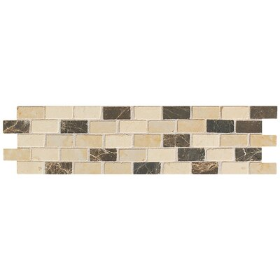 Artistic Accent Statements 12 x 3 Brick-Joint Mosaic Decorative Border in Emperador/Crema Marfil/Gold