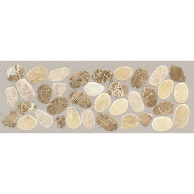Rustic Riverstone 12 x 4 Pebble Decorative Border in Adobe