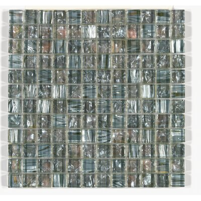 Accent Statements 12 x 12 Glass Mosaic Sheet Glass Block Tile in Silver Moon