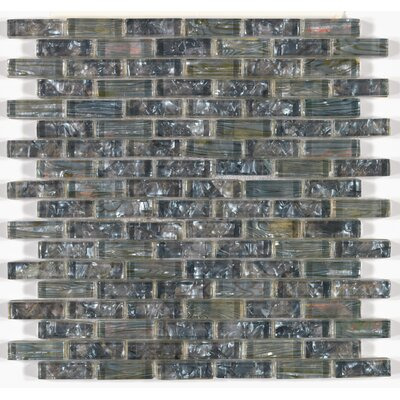Accent Statements 12 x 12 Glass Mosaic Sheet Brick Joint Decorative Accent Tile in Silver Moon