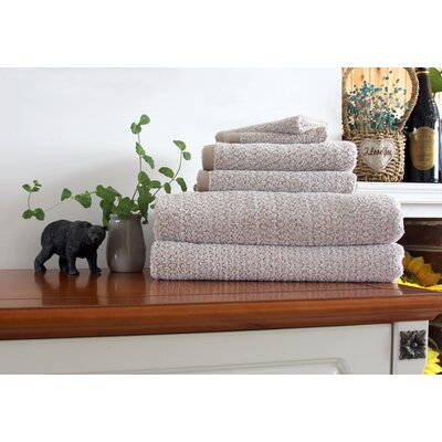 Diamond Jacquard 6 Piece Bath Sheet Set Color: Brown