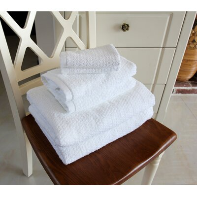 Diamond Jacquard 6 Piece Towel Set Color: White