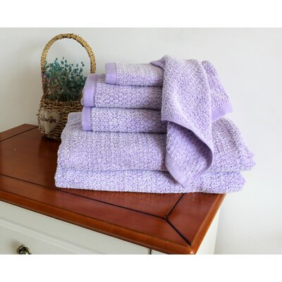 Diamond Jacquard 6 Piece Towel Set Color: Lavender
