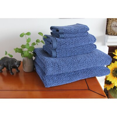 Diamond Jacquard 6 Piece Towel Set Color: Navy