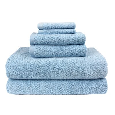 Diamond Jacquard 6 Piece Bath Sheet Set Color: Aquamarine