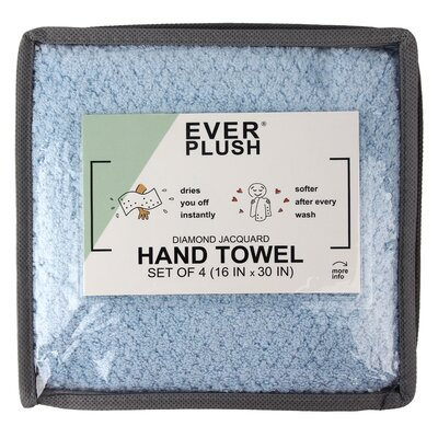 Diamond Jacquard 4 Piece Hand Towel Set Color: Aquamarine