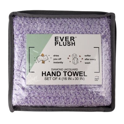Diamond Jacquard 4 Piece Hand Towel Set Color: Lavender