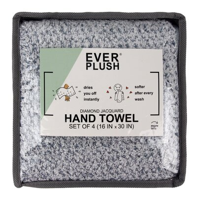 Diamond Jacquard 4 Piece Hand Towel Set Color: Dusk