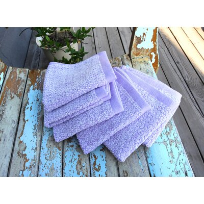 Diamond Jacquard 6 Piece Washcloth Set Color: Lavender