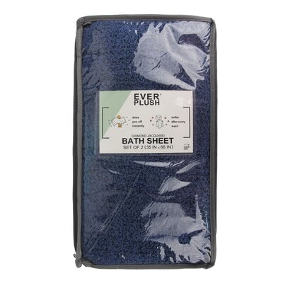 Diamond Jacquard 2 Piece Bath Sheet Set Color: Navy