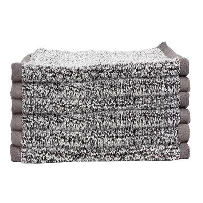 Diamond Jacquard 6 Piece Washcloth Set Color: Gray