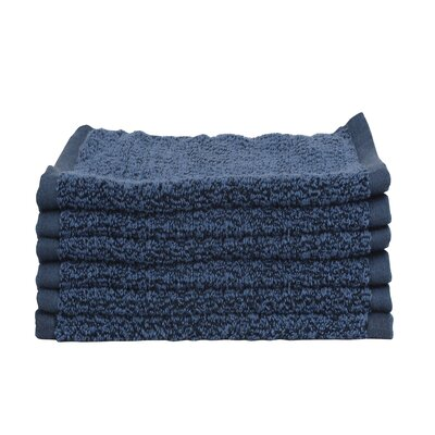Diamond Jacquard 6 Piece Washcloth Set Color: Navy