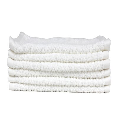 Diamond Jacquard 6 Piece Washcloth Set Color: White