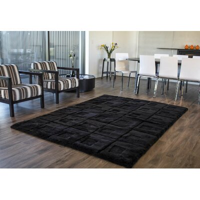 Shortwool Design Orbit Black Area Rug Rug Size: 56 x 8