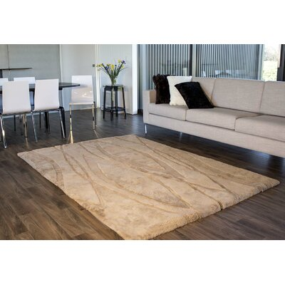 Shortwool Design Curves Tan Area Rug Rug Size: 56 x 8