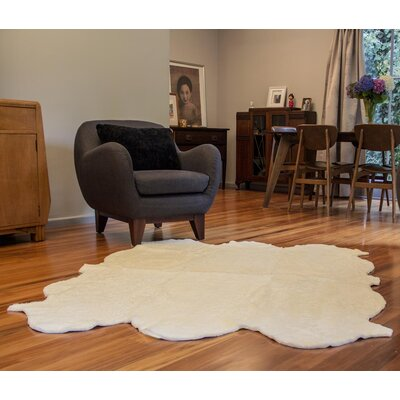 Curly Zealamb White Rug Rug Size: Novelty 6 x 8