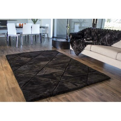 Shortwool Black Design Rug Rug Size: 56 x 8