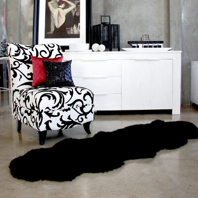 Ivory Gold Star Longwool Area Rug Rug Size: Square 6, Color: Black