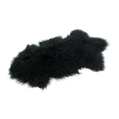 Barberry Mongolian Handmade Sheepskin Black Area Rug