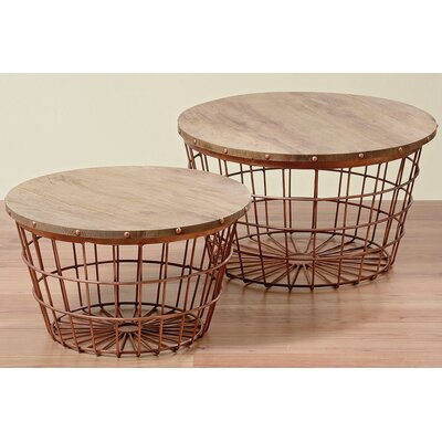 Urban 2 Piece Wire Basket End Table Set