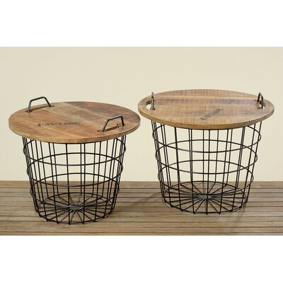 Urban 2 Piece Convertible Basket End Table Set