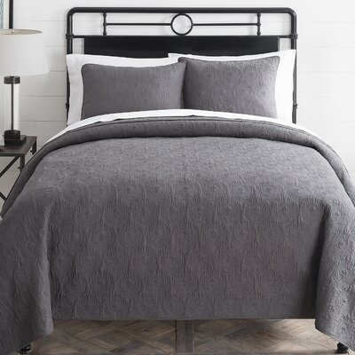 Aviary 3 Piece Quilt Set Color: Charcoal, Size: King