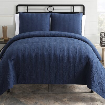 Nautical 3 Piece Quilt Set Color: Navy, Size: Full/Queen