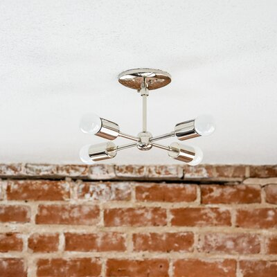 Mid Century 4-Light Semi Flush Mount