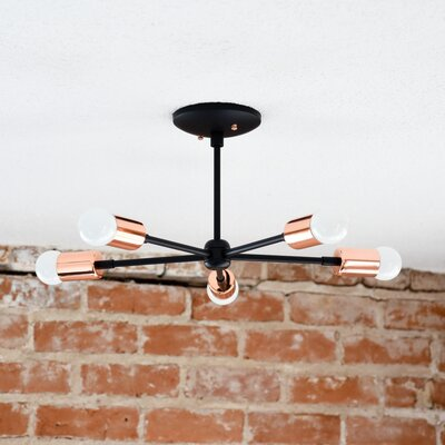 Mid Century 5-Light Semi Flush Mount Finish: Matte Black/Copper