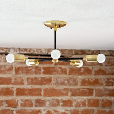 Mid Century 5-Light Semi Flush Mount Finish: Matte Black/Gold Brass